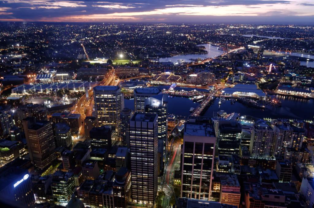 Sydney de nuit depuis la Sydney Tower