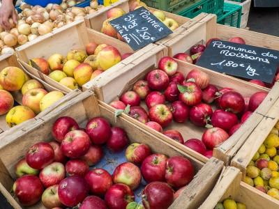 Marché de Lyon  : étal de pommes au marché de la Croix Rousse