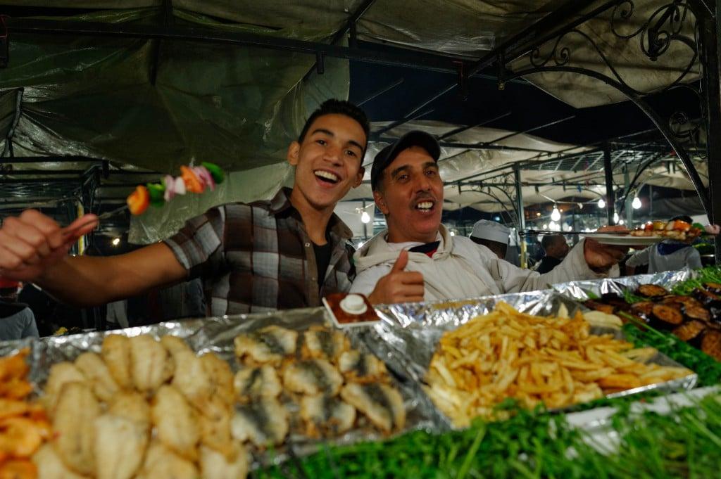 Repas chez Ali, place Djemaa El Fna, stand 65