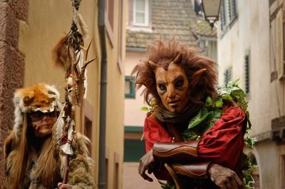 animation médiévale au Marché de Noël de Ribeauvillé