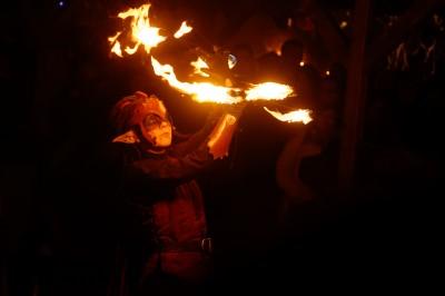Spectacle de feu au Marché de Noël de Ribeauvillé
