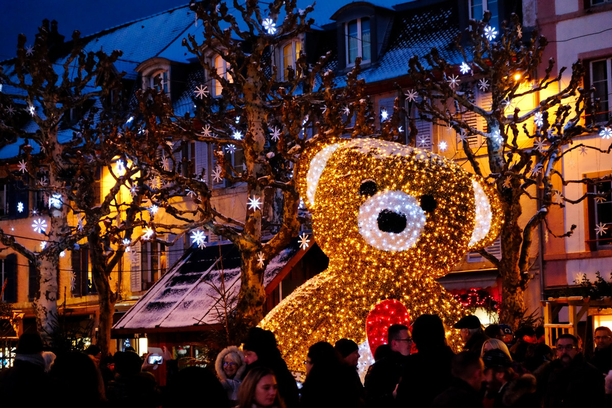 Illumination au marché de Noël de Montbéliard